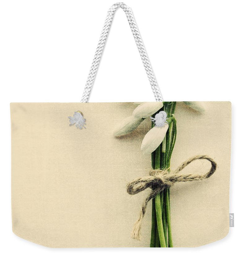 Spring Weekender Tote Bag featuring the photograph Posy Of Snowdrops by David Ridley