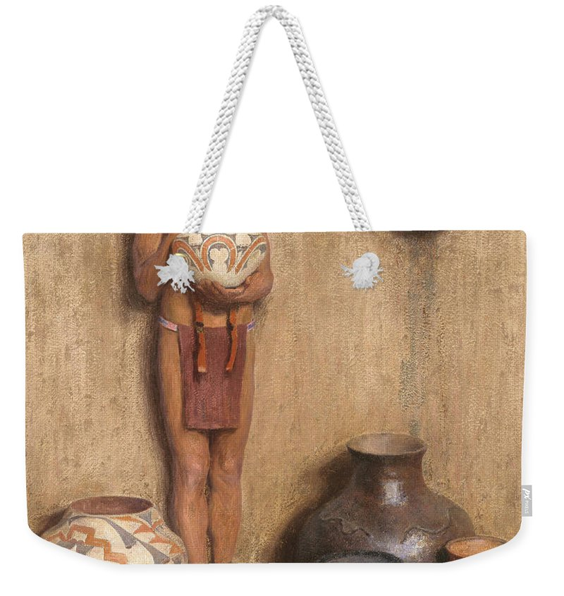 Art Weekender Tote Bag featuring the painting Pottery Vendor by Mountain Dreams