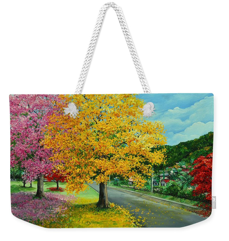 Poui Trees Weekender Tote Bag featuring the painting Poui In Diego by Karin Dawn Kelshall- Best
