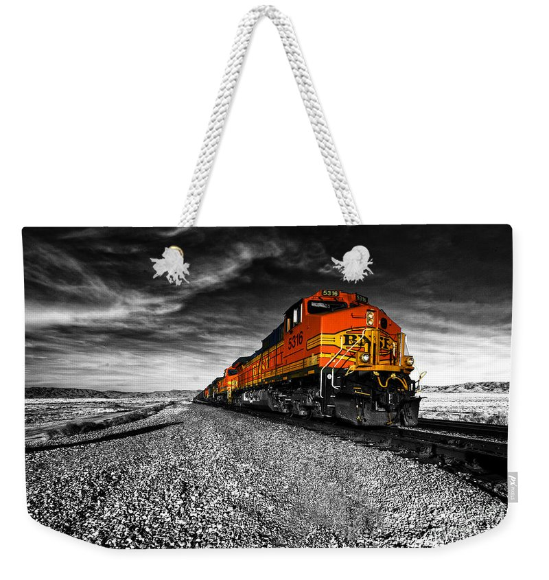 Bnsf Weekender Tote Bag featuring the photograph Power Of The Santa Fe by Rob Hawkins