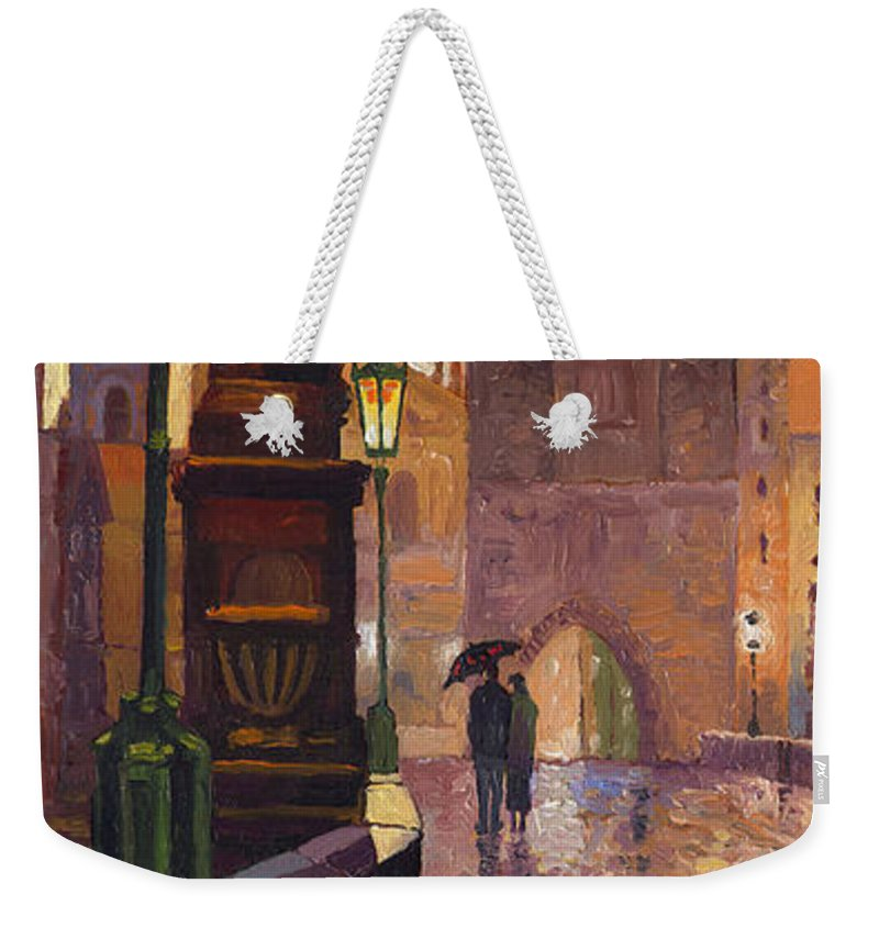 Prague Weekender Tote Bag featuring the painting Prague Charles Bridge 01 by Yuriy Shevchuk