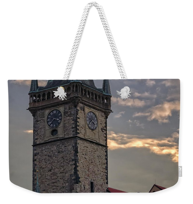 Joan Carroll Weekender Tote Bag featuring the photograph Prague Old Town Hall by Joan Carroll