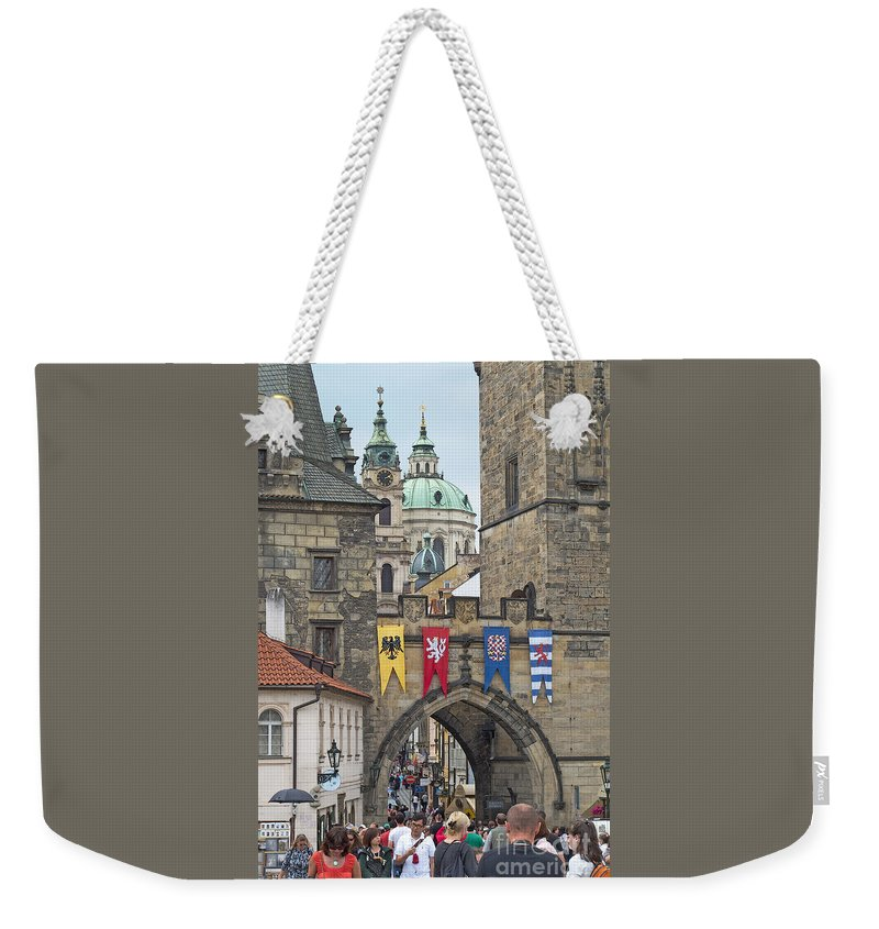 Prague Weekender Tote Bag featuring the photograph Prague Sightseeing by Ann Horn