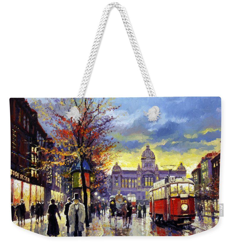 Oil On Canvas Weekender Tote Bag featuring the painting Prague Vaclav Square Old Tram Imitation By Cortez by Yuriy Shevchuk