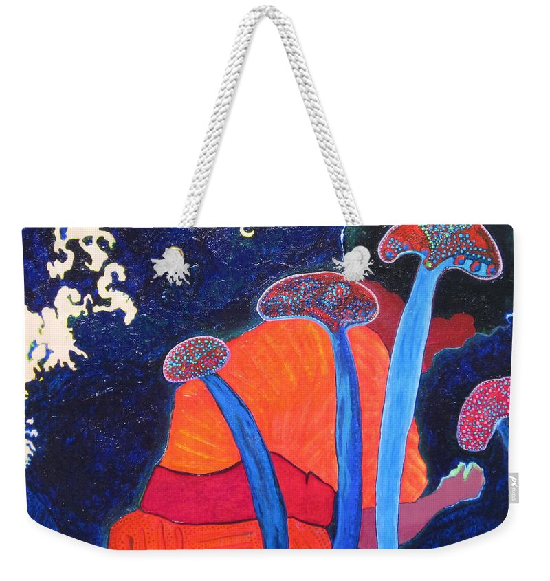 Blue Weekender Tote Bag featuring the painting Prayers Of Peace by Catherine Helmick