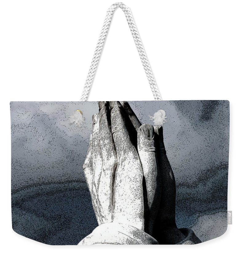 Vertical Weekender Tote Bag featuring the photograph Praying Hands by Sally Rockefeller