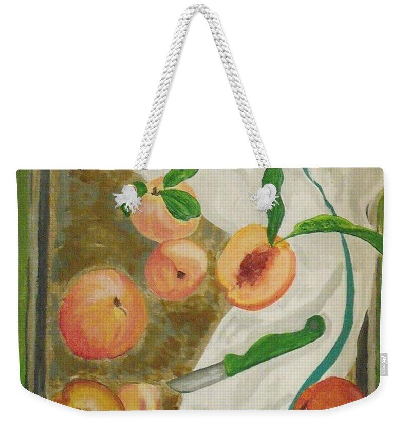 Fruit Weekender Tote Bag featuring the painting Pre-cobbler by Steve Cochran