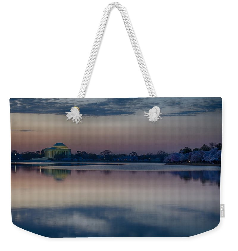 Washington Dc Weekender Tote Bag featuring the photograph Pre-dawn At The Jefferson Memorial by Leah Palmer