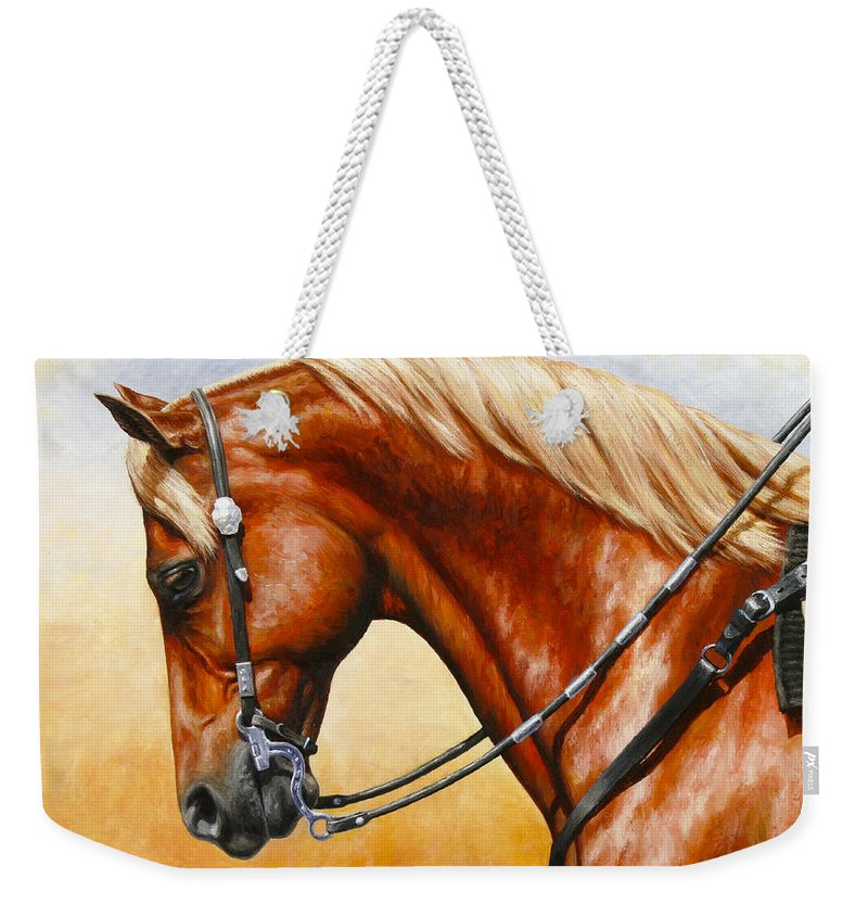 Horse Weekender Tote Bag featuring the painting Precision - Horse Painting by Crista Forest