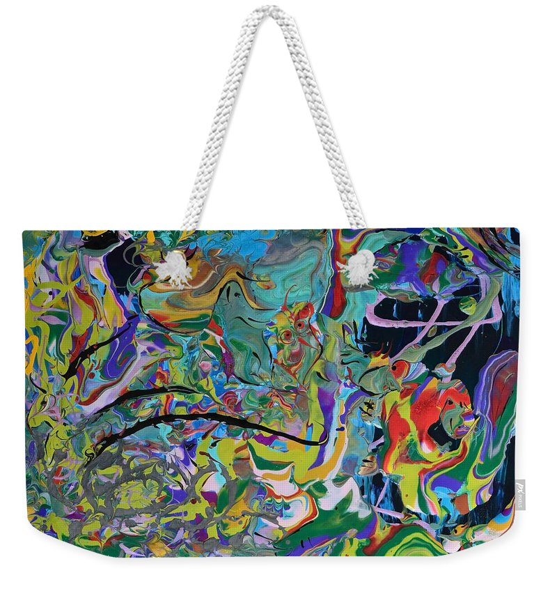 Tropics Weekender Tote Bag featuring the painting Prehistoric Tropics by Donna Blackhall