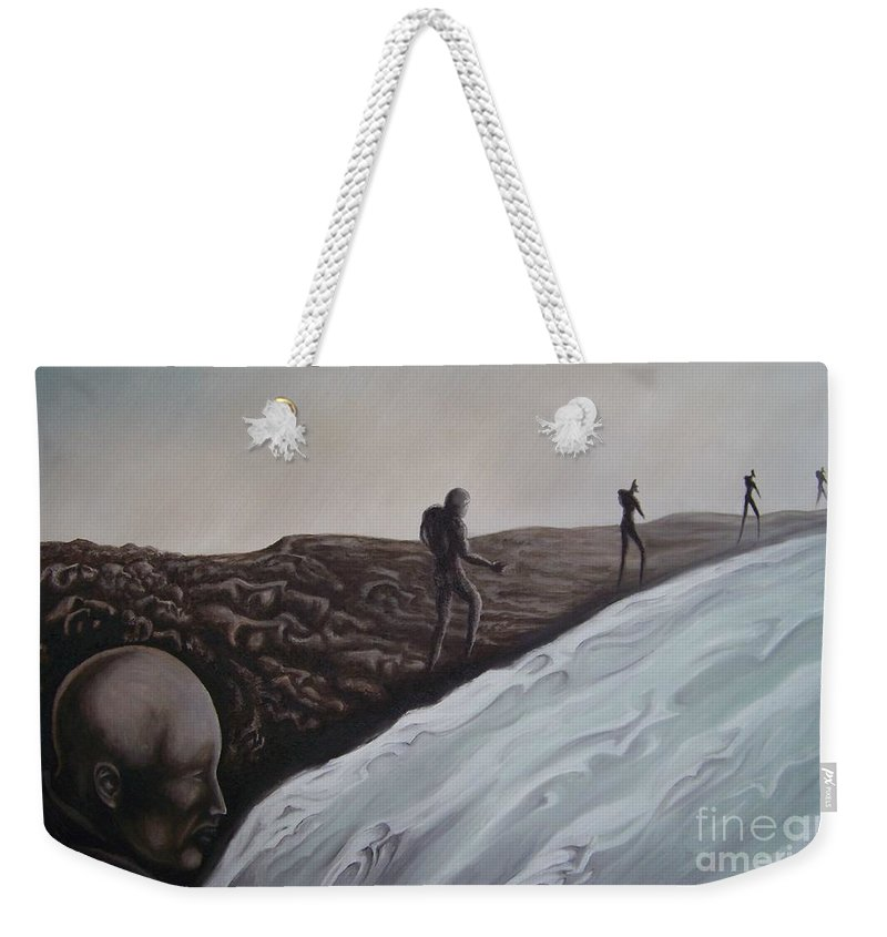 Tmad Weekender Tote Bag featuring the painting Premonition by Michael TMAD Finney
