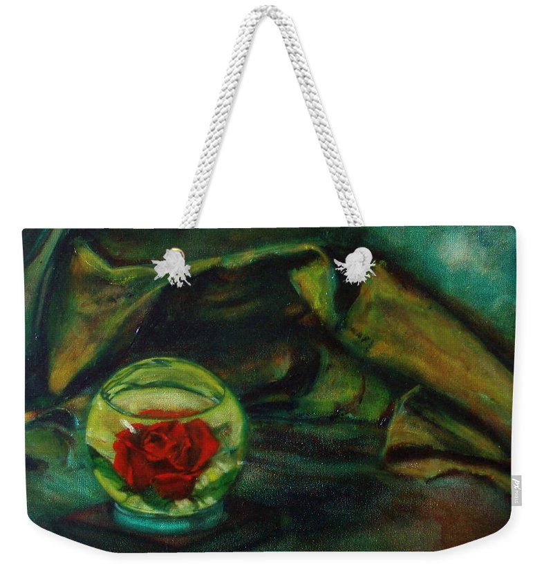 Still Life Weekender Tote Bag featuring the painting Preserved Rose . . Draped Canvas by Sean Connolly