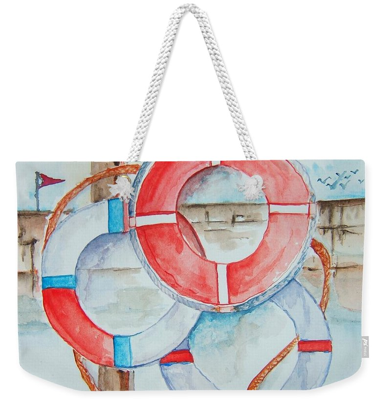 Life Preserver Weekender Tote Bag featuring the painting Preserver Rings On Guard by Elaine Duras