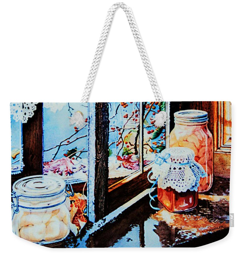 Still Life Art Weekender Tote Bag featuring the painting Preserving The Harvest by Hanne Lore Koehler