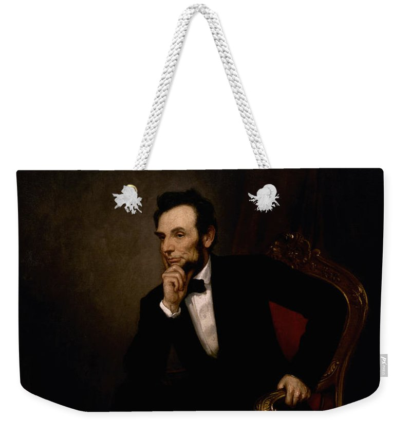 Abraham Lincoln Weekender Tote Bag featuring the painting President Lincoln by War Is Hell Store