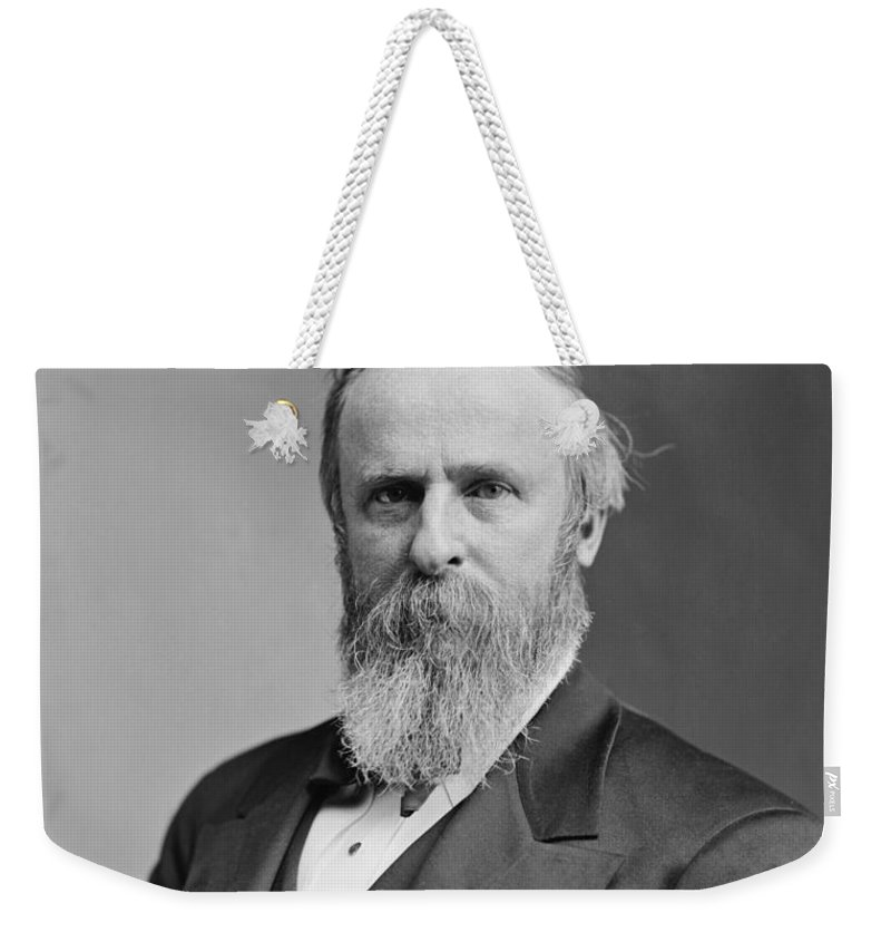 Rutherford B Hayes Weekender Tote Bag featuring the photograph President Rutherford Hayes by War Is Hell Store