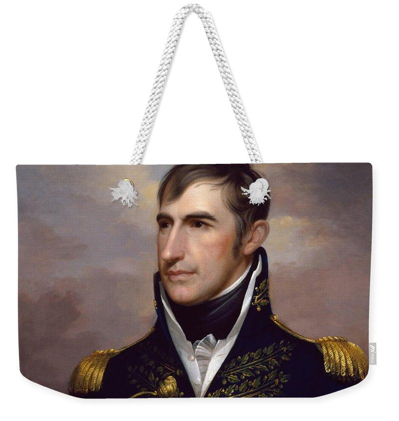 William Henry Harrison Weekender Tote Bag featuring the painting President William Henry Harrison by War Is Hell Store