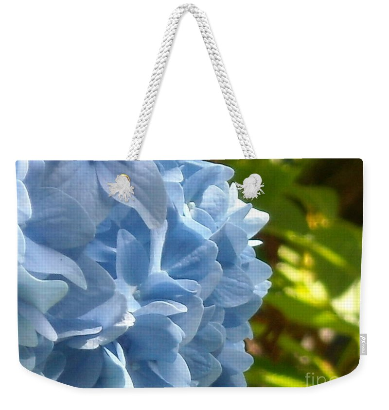 Flower Weekender Tote Bag featuring the photograph Pretty Blue Flower by Line Gagne