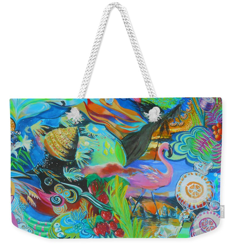 Flamingo Weekender Tote Bag featuring the painting Pretty Flamingo by Lucia Hoogervorst
