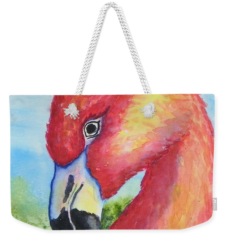 Wildlife Weekender Tote Bag featuring the painting Pretty In Pink by Conni Reinecke