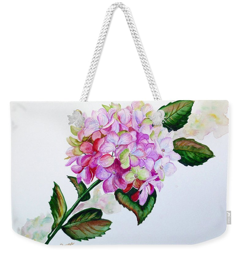 Hydrangea Painting Floral Painting Flower Pink Hydrangea Painting Botanical Painting Flower Painting Botanical Painting Greeting Card Painting Painting Weekender Tote Bag featuring the painting Pretty In Pink by Karin Dawn Kelshall- Best