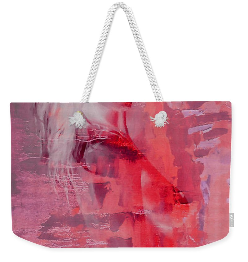 Female Nude Naked Boobs Pretty Erotic Woman Boobs Tits Painting Sexy Butt Weekender Tote Bag featuring the painting Pretty In Pink by Steve K