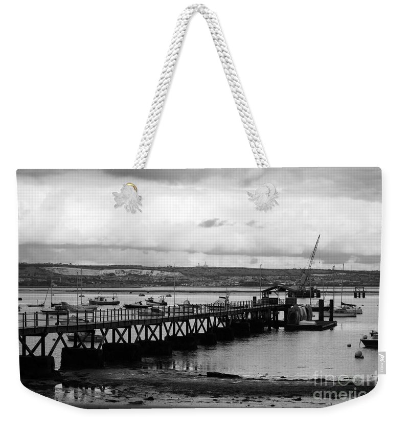 Priddy's Hard Weekender Tote Bag featuring the photograph Priddy's Hard Jetty by Terri Waters