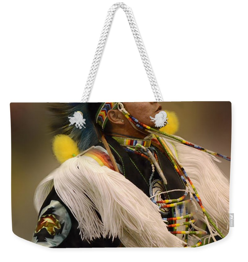Pow Wow Weekender Tote Bag featuring the photograph Pow Wow Native Pride 2 by Bob Christopher