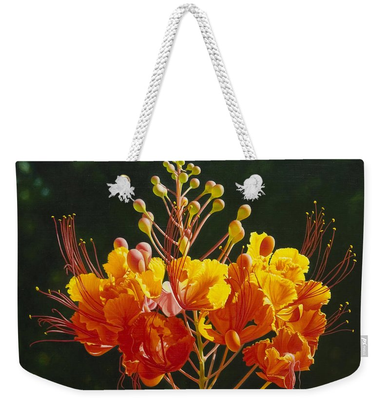Floral Weekender Tote Bag featuring the painting Pride of Barbados by Gary Hernandez