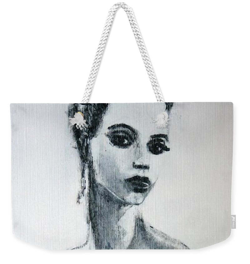 Portrait Art Weekender Tote Bag featuring the painting Primadonna by Jarmo Korhonen aka Jarko