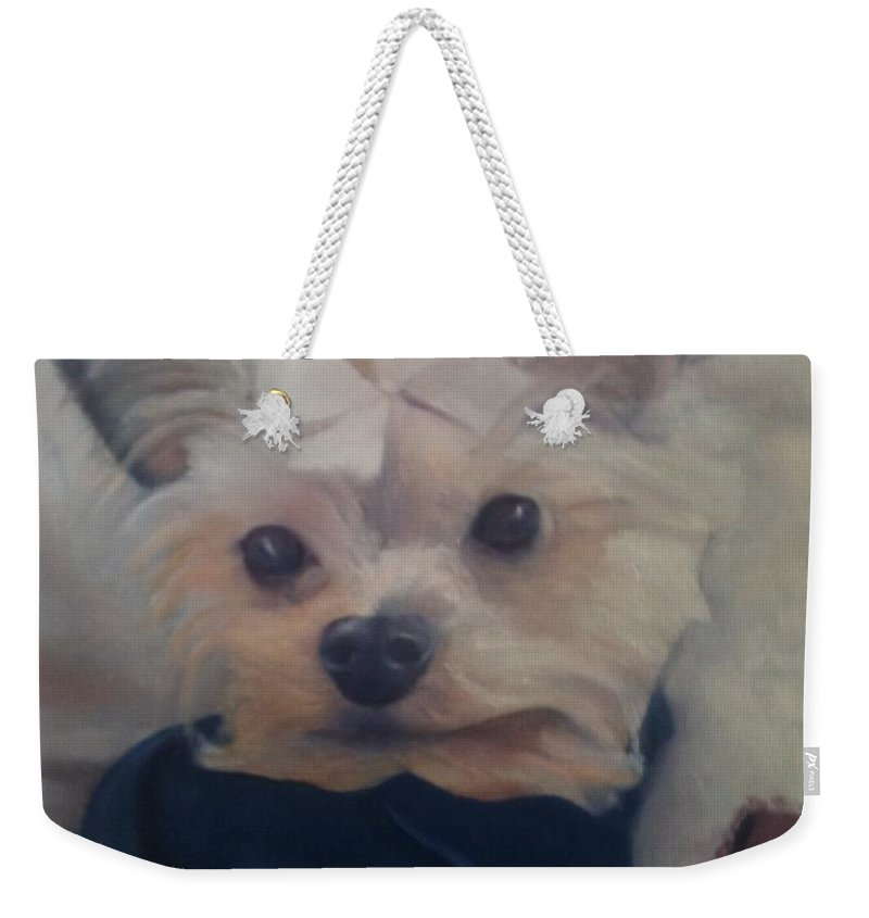 Dog Weekender Tote Bag featuring the painting Princess Pricilla by Sheila Mashaw