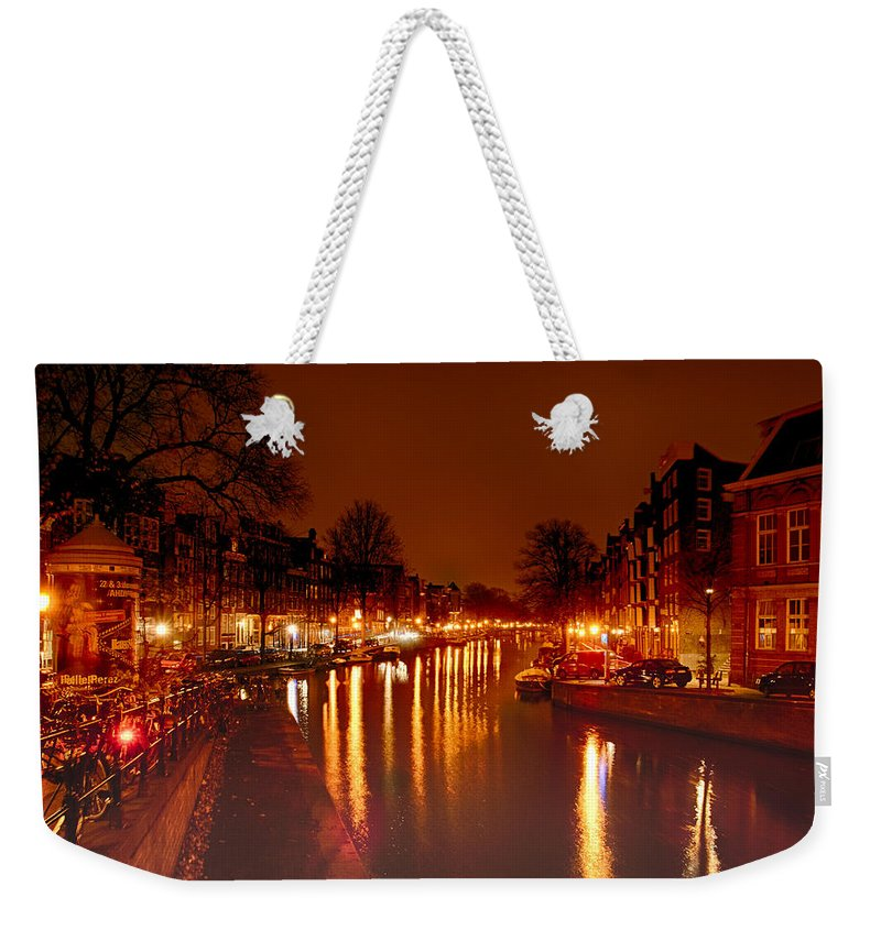 Amsterdam Canvas Prints Weekender Tote Bag featuring the photograph Prinsengrahct by Jonah Anderson