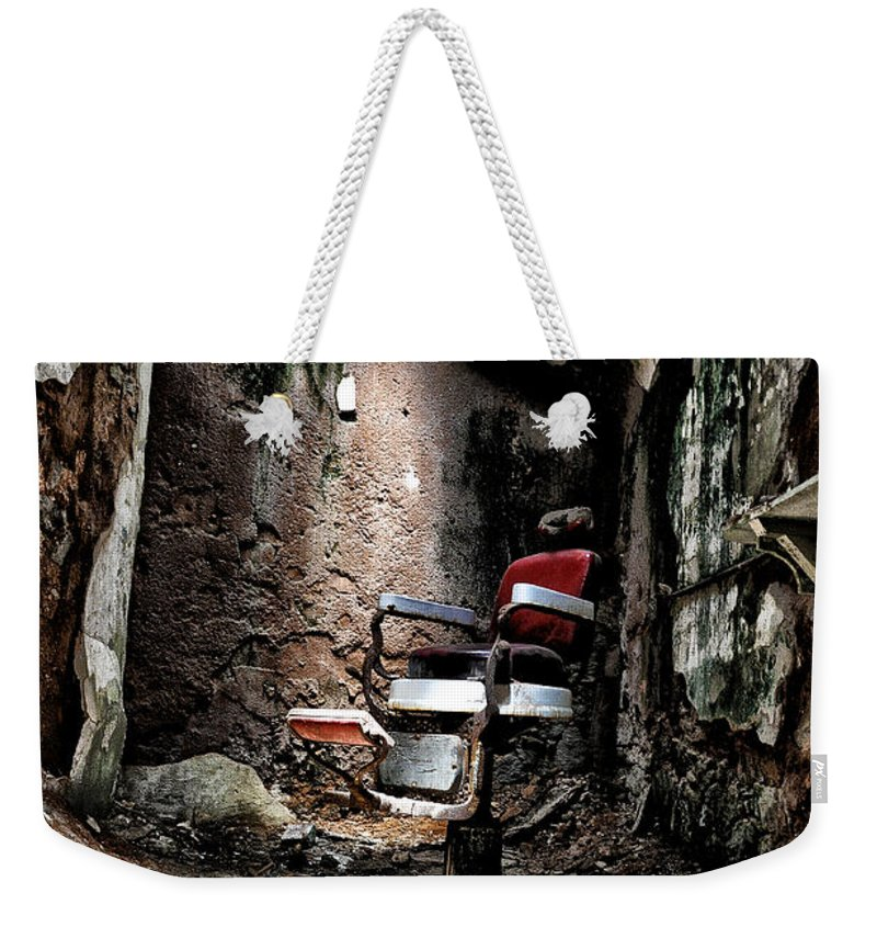 Prison Barbershop Weekender Tote Bag featuring the photograph Prison Barbershop by Bill Cannon