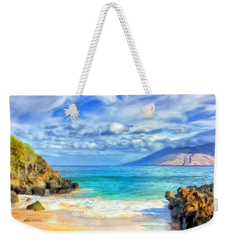 Beach Weekender Tote Bag featuring the painting Private Beach At Wailea Maui by Dominic Piperata