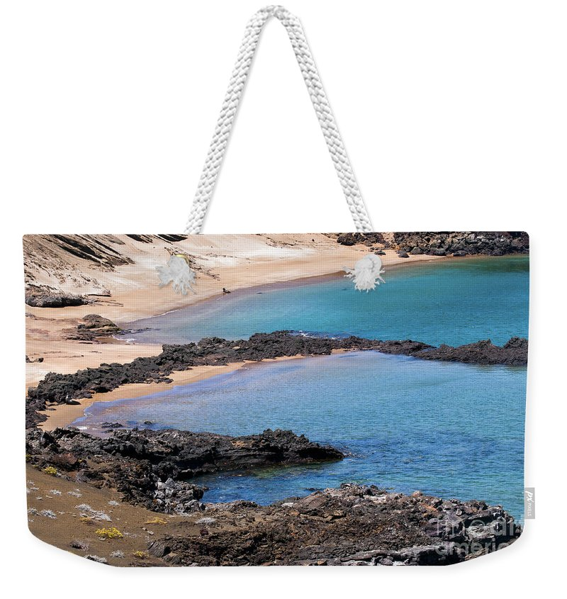 Bartolome Island Galapagos Islands Ecuador Water Pacific Ocean Oceans Sea Seas Lava Rock Sand Beach Rocks Landscape Landscapes Waterscape Waterscapes Weekender Tote Bag featuring the photograph Private Beaches by Bob Phillips