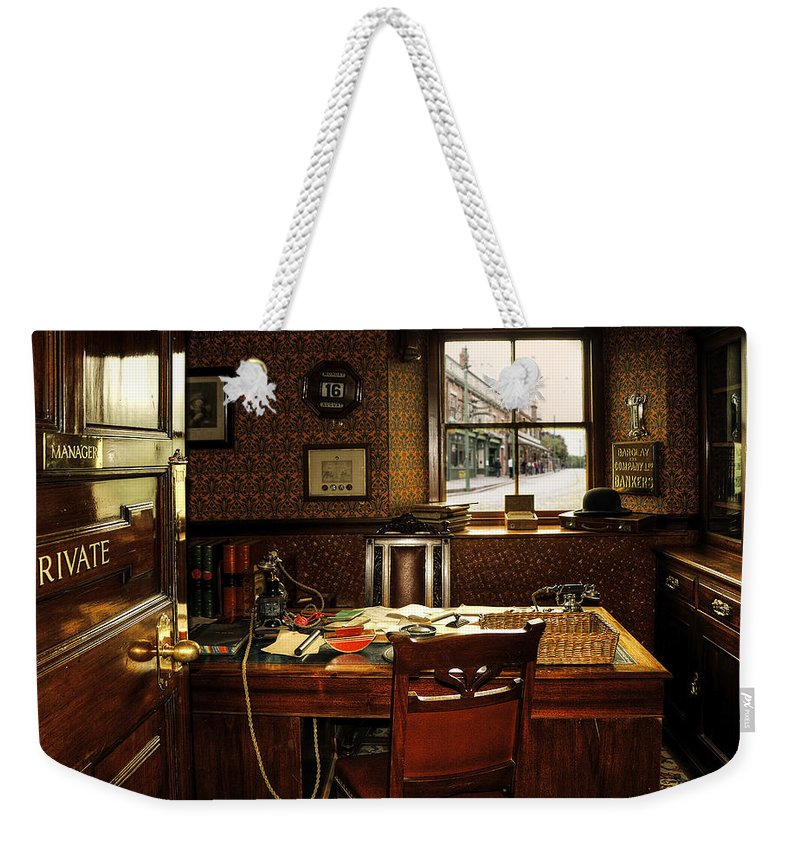 Bank; Banker; Beamish; Book; Books; Britain; British; Cabinet; Chair; Chairs; Clock; Door; England; Hdr; Manager; Old; Orange; Pen; Pencil; Private; Red; Room; Table; Telephone; Uk; Walls; Window; Windows Weekender Tote Bag featuring the photograph Private by Svetlana Sewell