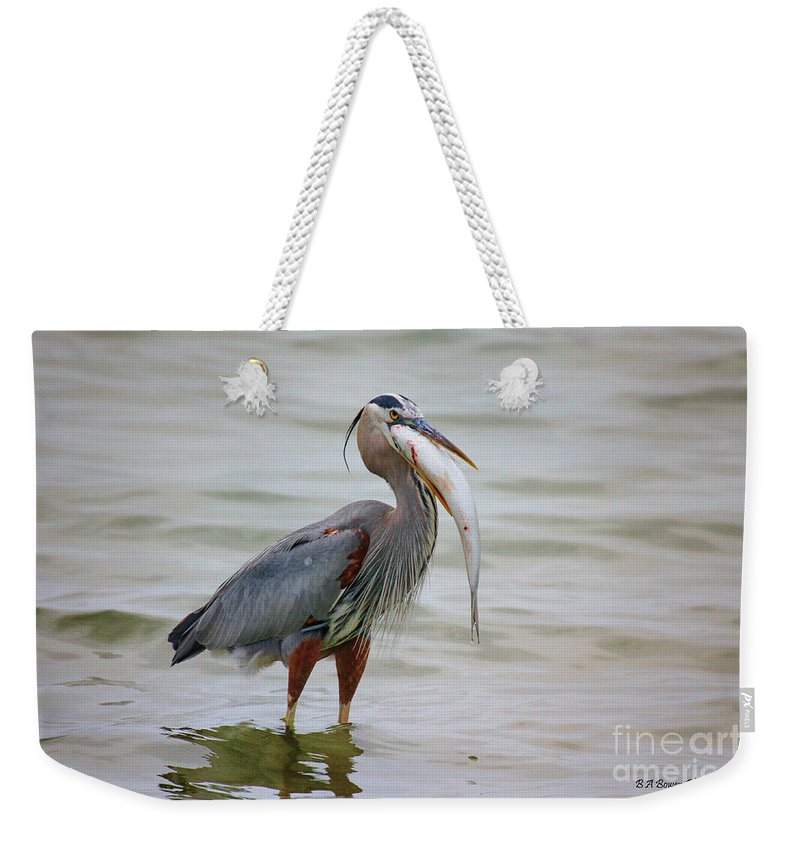 Great Blue Heron Weekender Tote Bag featuring the photograph Prize Catch by Barbara Bowen