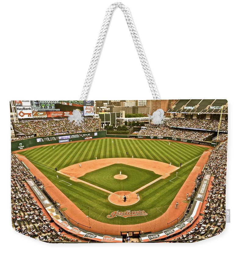 Cleveland Weekender Tote Bag featuring the photograph Progressive Field Antique Look by Frozen in Time Fine Art Photography