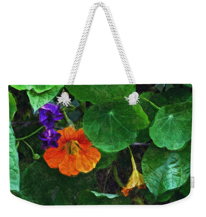 Nasturtiums Weekender Tote Bag featuring the painting Prolonging Summer by RC deWinter