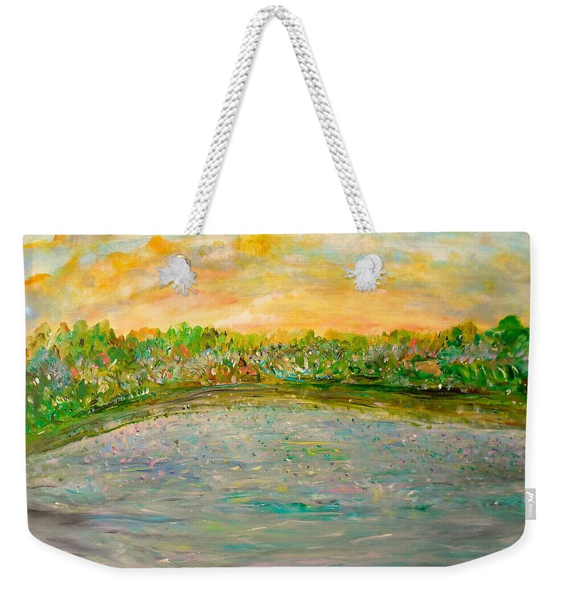 Whimsical Landscape Weekender Tote Bag featuring the painting Confetti Dreams by Sara Credito