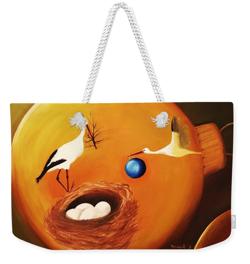 Stork Weekender Tote Bag featuring the painting Prosperity by Misuk Jenkins