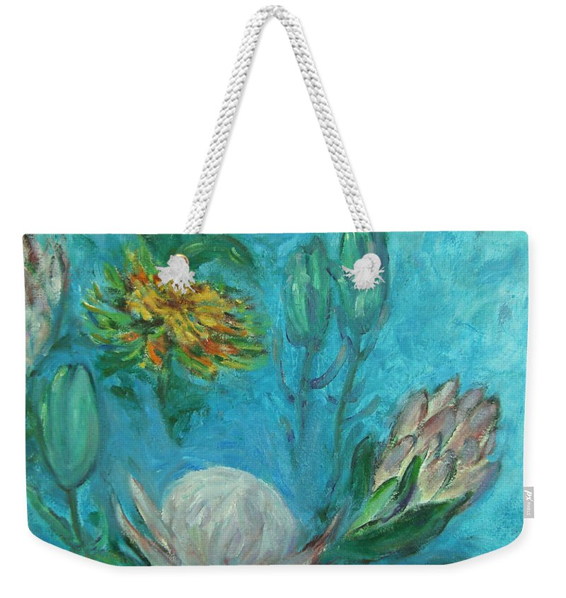Proteas Weekender Tote Bag featuring the painting Protea Flower Study I by Xueling Zou