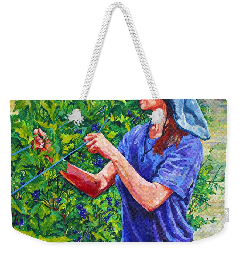 Vineyard Weekender Tote Bag featuring the painting Pruning The Pinot by Derrick Higgins