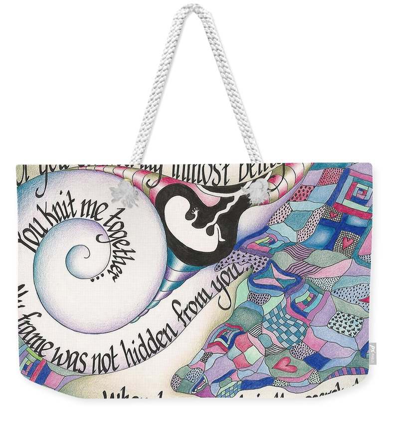 Bible Weekender Tote Bag featuring the mixed media Psalm 139 by Amanda Patrick