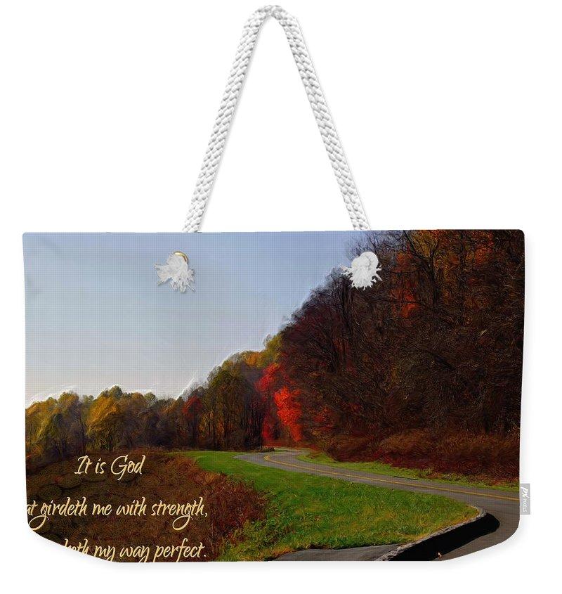Jesus Weekender Tote Bag featuring the digital art Psalm 18 32 by Michelle Greene Wheeler