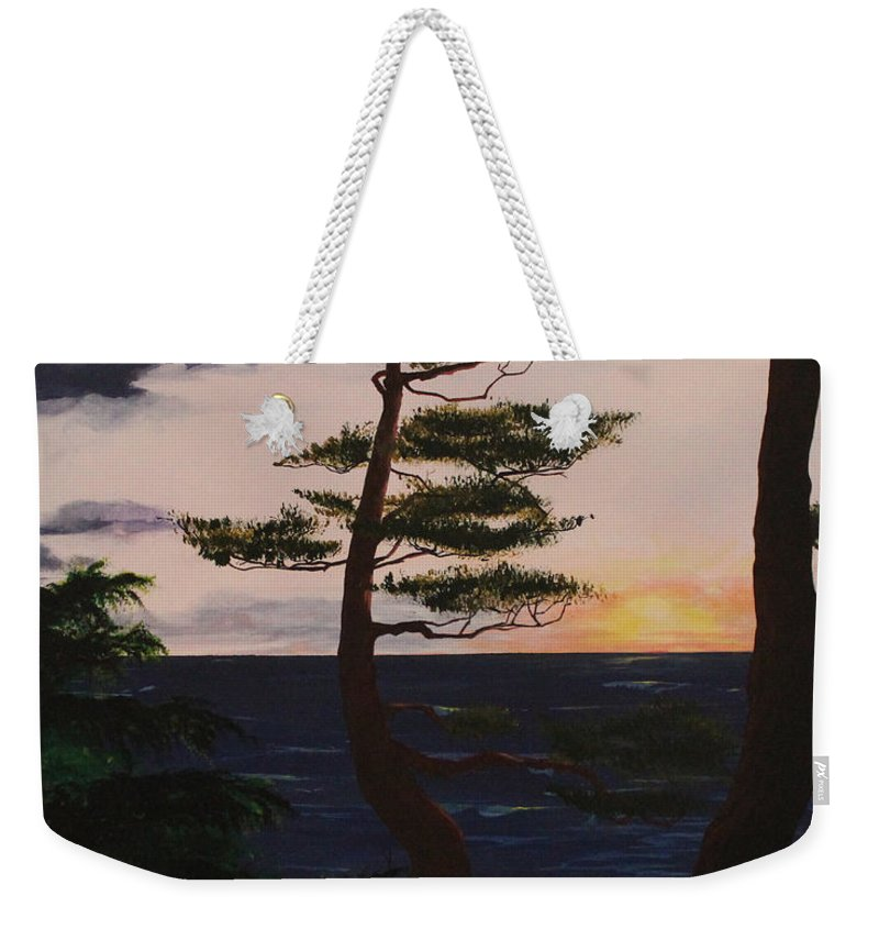 David L. Gerring Weekender Tote Bag featuring the painting Psalms 136 Verse 7 And 8 Left Panel by D L Gerring