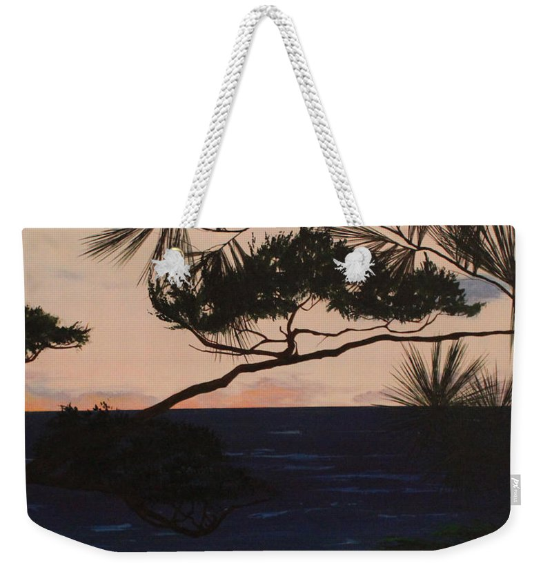 David L. Gerring Weekender Tote Bag featuring the painting Psalms 136 Verse 7 And 8 Right Panel by D L Gerring