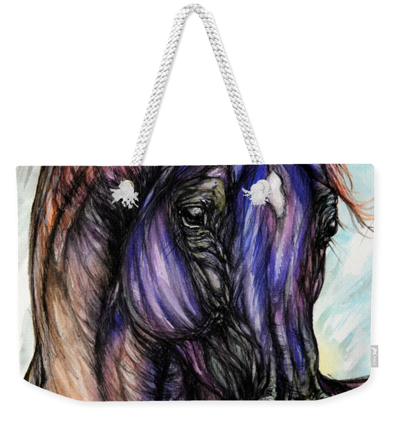 Horse Weekender Tote Bag featuring the painting Psychedelic Blue And Orange by Angel Ciesniarska