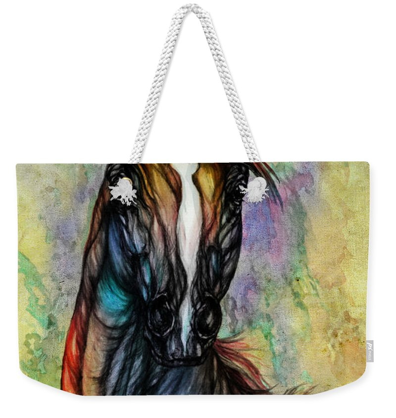 Horse Weekender Tote Bag featuring the painting Psychedelic Brown And Blue by Angel Ciesniarska