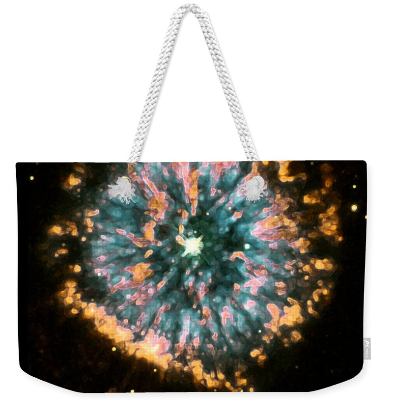 Nebula Weekender Tote Bag featuring the photograph Psychedelic Dandelion by Jennifer Rondinelli Reilly - Fine Art Photography